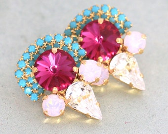 Pink Turquoise Earrings,Fuchsia Pink Turquoise Statement Earrings,Swarovski Statement Earrings,Bridal Pink Mint Earrings,Crystal Earrings