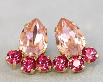 Blush Earrings, Blush Pink Swarovski Studs, Swarovski Blush Pink Earrings, Bridesmaids Crystal Earrings, Bridal Rose Earrings, Gift for her