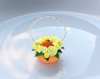 1:12 scale dollhouse pumpkin basket with pretty yellow roses handmade from polymer clay
