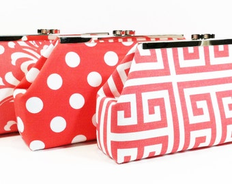Bridesmaid Clutch Wedding Party Purses Personalized Gifts - You Pick Coral Salmon Peach
