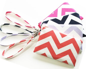 Bridesmaid Wristlet Cosmetic Pouch Choose Your Fabric Set of 5