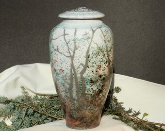 Raku Jar, Autumn Woods,Handmade 11 in. tall, Large,copper,white,turquoise,Home Decor, nonperishable storage
