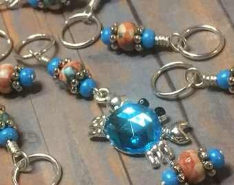 Blue Crab Stitch Marker Set- SNAG FREE Beaded Knitting Stitch Markers- Gifts for Knitters- Knitting Tools- Crochet Markers- Supplies