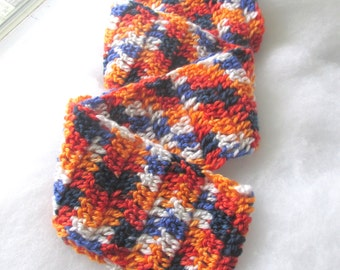 CLEARANCE -Blue and Orange Scarf - Fall Autumn Style - Football Games