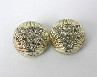 Vintage 70s Rhinestone Earrings Round Gold w Triangle of Rhinestones Clip on Backs