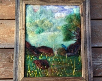 "Blue Bird in Meadow Needle Felted Framed Painting, 14 1/2"" x 17 1/2"""