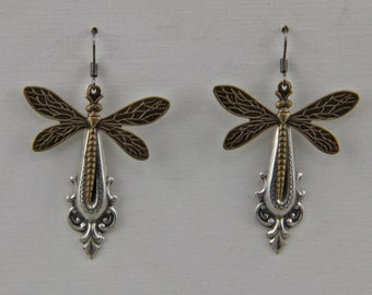 Handmade Dragonfly  Dangle Earrings