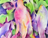 Watercolor of Colorful Birds Abstract Pink Purple Green by Artist Martha Kisling
