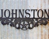 Metal Family Name Sign Texas Star Scroll