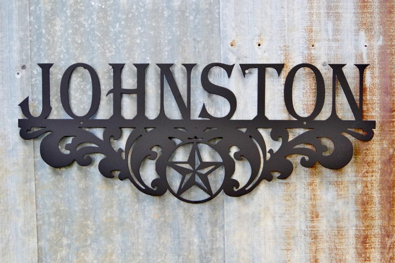 Metal Family Name Sign Texas Star Scroll