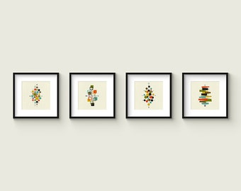 Collection of (4) Giclee Prints - Square Format - Mid Century Modern