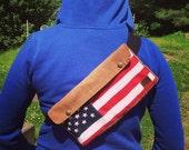 American Flag Waxed Canvas Belt Bag, Waist Bag, Bike Bag