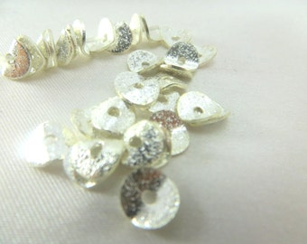 Sterling Silver Electroplate 6mm Potato Chip Jewelry Beads - 25 beads or choose your quantity