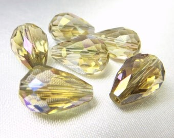 6 Faceted Crystal Teardrops 10mm x 14mm in Light Topaz Gold with AB Finish