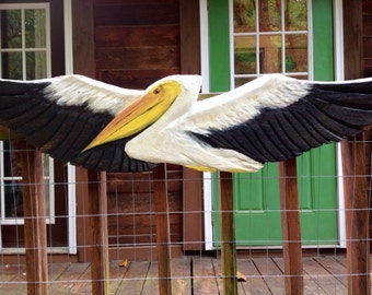 Great White Pelican 4ft chainsaw carved flying bird centerpiece lowcountry home decor Ocean Arts original beach house woodworking wall mount