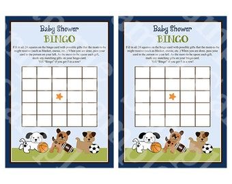 "Printable ""Bow Wow Sport Puppies"" Baby Bingo Cards Instant Digital Download"