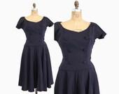 50s LILLI ANN New Look DRESS / 1950s Navy Blue Faile Full Pleated Skirt M