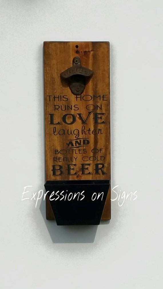 Bottle opener with cap catcher wall mounted by expressionsonsigns - Wall mounted beer bottle opener cap catcher ...