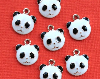 5 Panda Bear Charms Gold Plated Enamel E33