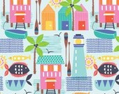 Beach Summer Fabric Blend Fabrics Maude Asbury Fabric by the Yard Sunsational Wish You Were Here in Blue One Yard
