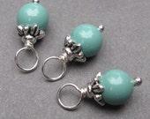 Jade Swarovski Pearl Charms, Stitch Markers, Wine Glass Charms, Wire Wrapped Bead Dangles, Bracelet Charms, 6mm Swarovski Crystal Pearls