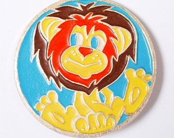 Vintage big metal badge pin, Lion.  Badge from USSR.