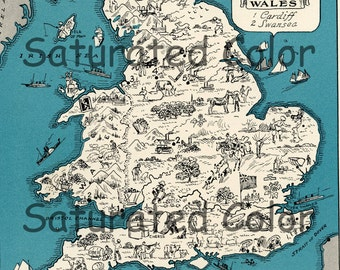 England Map Britain ORIGINAL 1932 Vintage Picture Map Geography - Pictorial Fun Charming Antique Paul Spener Johst Whimsical London Cardiff