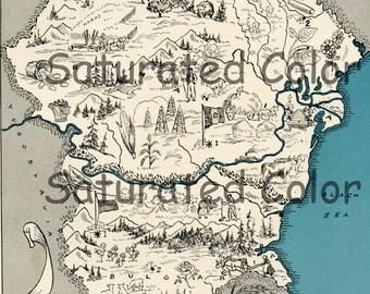 Romania Bulgaria Rumania Map ORIGINAL 1932 Vintage Picture Map Geography - Pictorial Fun Charming Antique Paul Spener Johst Whimsical Sofia