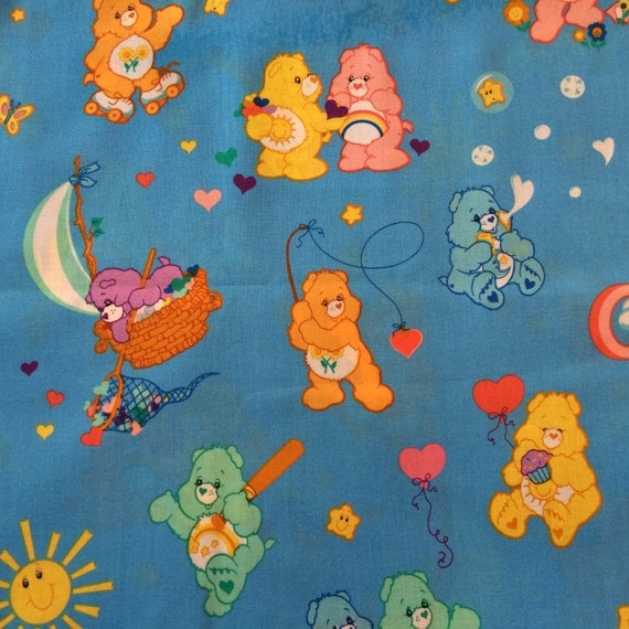 Care Bear Hearts Rainbows Stars Cotton Fabric Blue Background Fat Quarter OOP 55