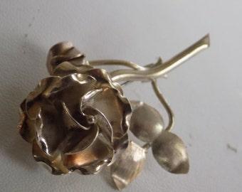 Vintage brooch, Taxco Mexico sterling silver 925 rose flower floral brooch, romantic jewelry