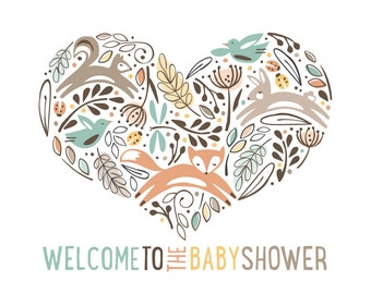 Woodland Sign, Welcome Sign for Your Baby Shower Party // WOODLAND WONDER