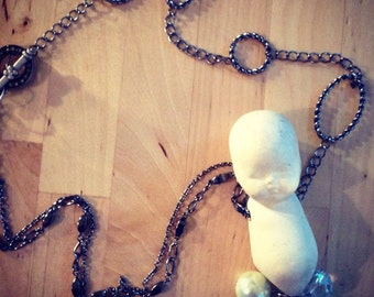 Vintage baby doll necklace/ Bisque doll necklace