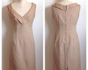 Vintage 1960s tan dress