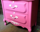 Alice in Wonderland Pink Nightstand with White Accents and Knobs (Custom can do Alone as or a Set)