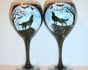 Wolves Howling at the Moon Hand Painted Wine Glasses Set of 2 / 20 oz. Red Wine Goblets With Bats Trees Moon Falling Stars Dark Sky Stars