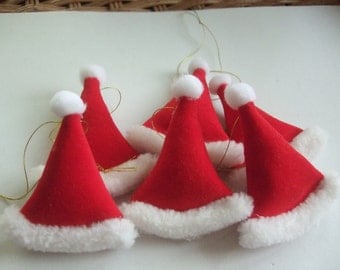 12 Handmade Santa Hats Ornaments In Red Velveteen Plus Free Shipping !!!!   By Terrys Country Shop