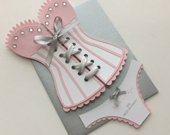 Lingerie Shower / Bridal shower - Corset invitation with panties, custom colors, set of 12