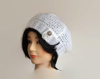 Knit White Beanie, Womens Beanie, Knit Hat, Women's Hat, Spring Hat