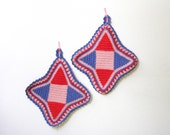Vintage Crocheted Pot Holders Red, Blue and Pink