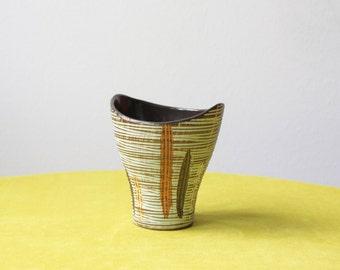 Mid Century Modern West German Studio Pottery Planter Vase Sgraffito