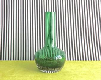 Vintage Schott Zwiesel German Emerald Green Glass Vase Florida dekor by Heinrich Löffelhardt