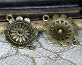 20PCS Of 21x28 MM  Antique Bronze Connector flower,metal finding,pendant beads,two holes Charms,flower findings,finding beads
