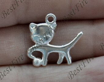 8 PCS of 18x20MM Antique silver cat Charms Pendant,pendant beads,jewelry findings,cat Charms Fingdings pendant