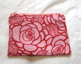 Pink Roses Fabric Coin Purse/Zipper Pouch