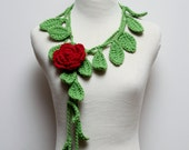 Crocheted Leaf Green Leaf Necklace with Red Rose Brooch