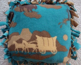"Western tied 12"" x 12"" tied pillow"