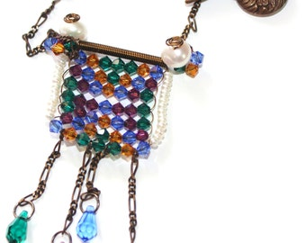 ART DECO - Swarovski Woven Crystals with Vintaj Brass Necklace -pearls, brass, emerald, sapphire, amber, amethyst,