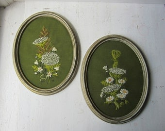 Pair Vintage Wildflower Crewel Embroidery Wall Hanging - 1970s - Green