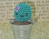 """Tiny Amigurumi Cactus in 2"""" Metal Bucket Planter"""