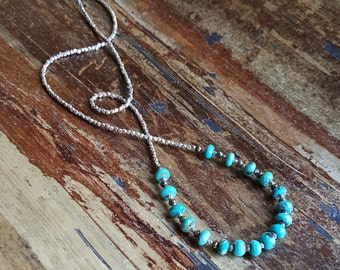 Turquoise Necklace Turquoise Necklaces Turquoise Beaded Necklaces Pyrite Silver Bead Necklace Long Necklace Womens Gift Statement Necklace